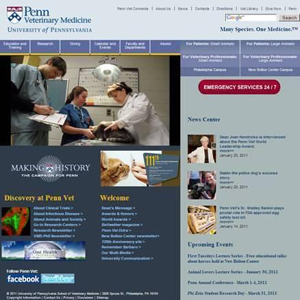 Penn Vet's former homepage